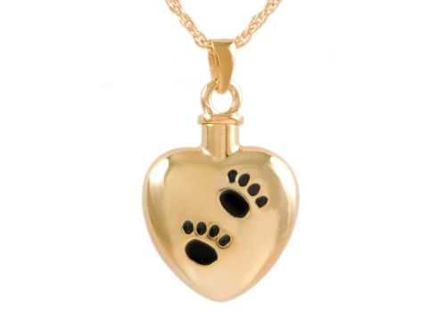 Gold Heart With Black Paws Pendant