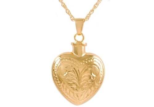 Etched Heart Gold Pendant