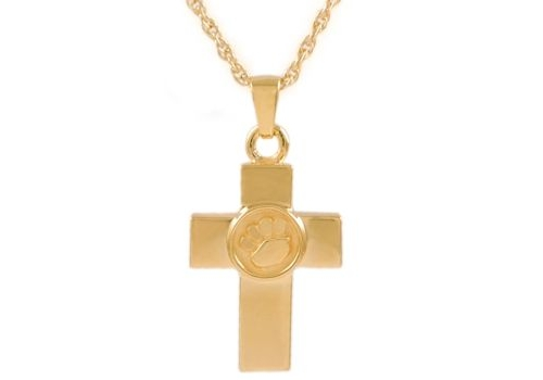 Gold Cross With Paws Pendant