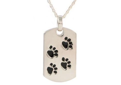 Dog Tag With Paws Pendant