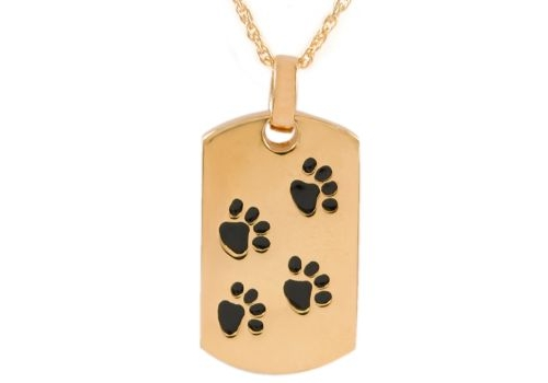 Gold Dog Tag With Paws Pendant
