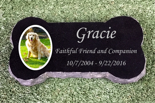 Granite Bone Memorial With Color Tile