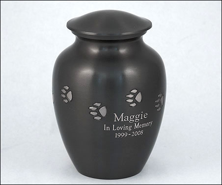 Solid Brass Paw Print Urns - Engraved