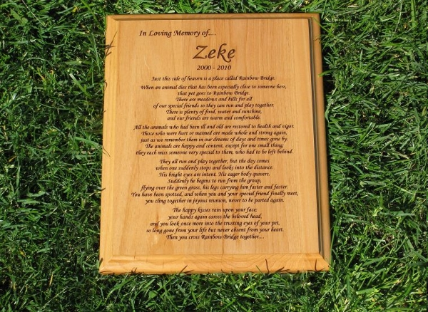 "Rainbow Bridge Poem Wooden Plaque (8"" x 10"")"